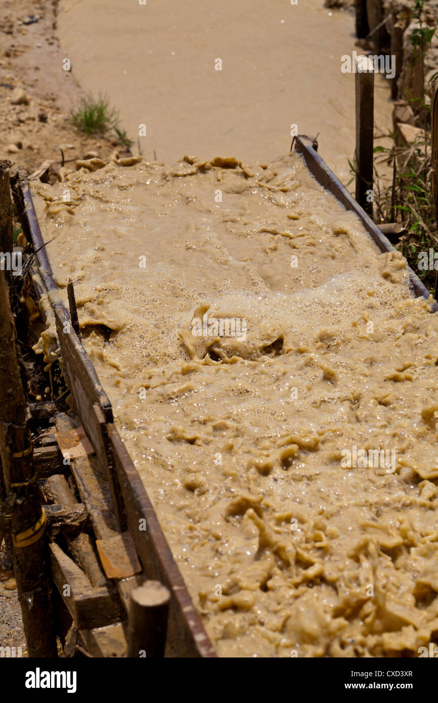 Brown Mud on the Diamond Fields of Cempaka in South Kalimantan in Indonesia - Stock Image