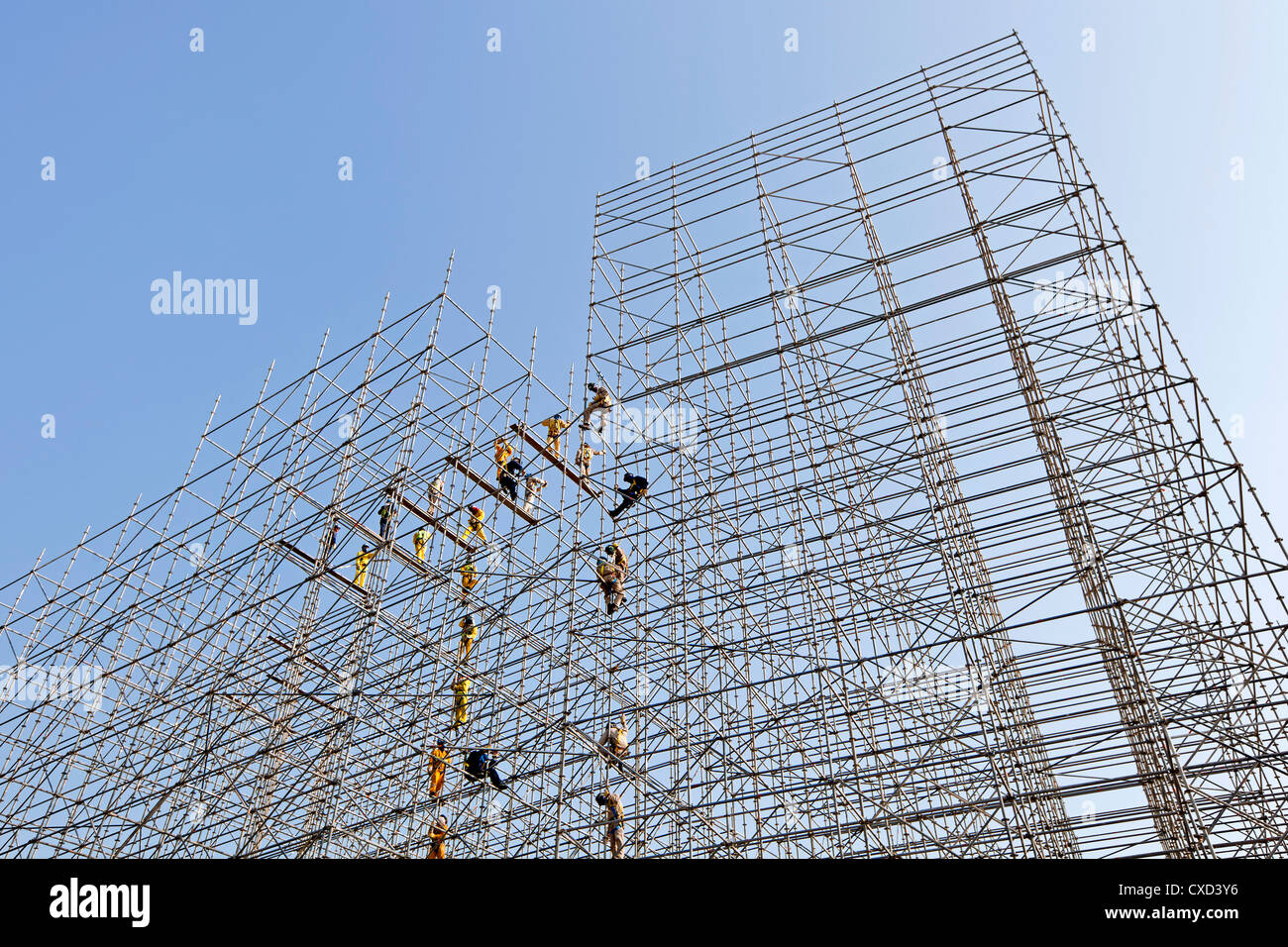 Scaffolding construction being erected in Central Doha, Doha, Qatar, Middle East - Stock Image