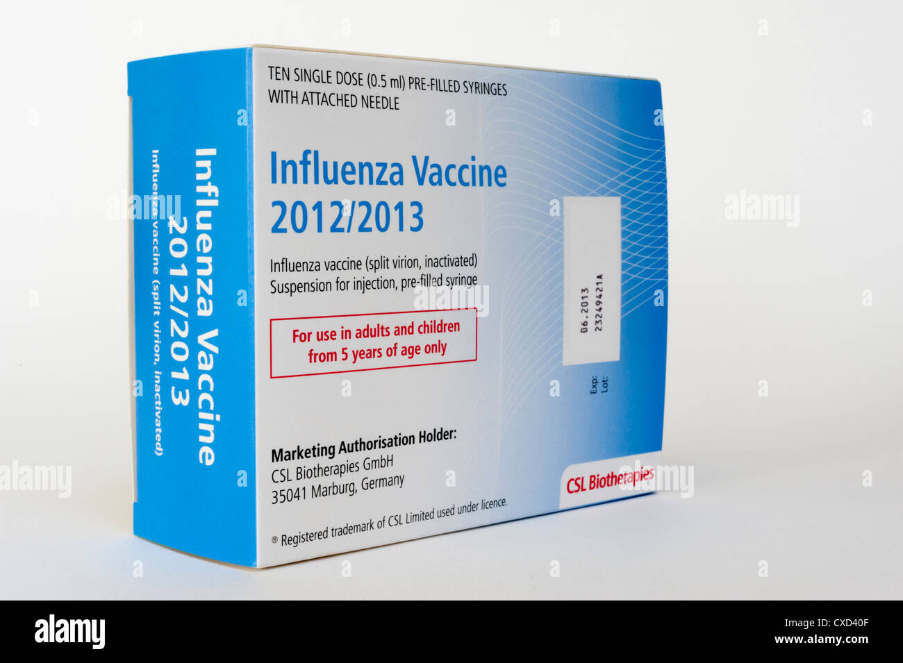 Influenza vaccine for the 2012 -2013 season, generic made by CSL Biotherapies - Stock Image