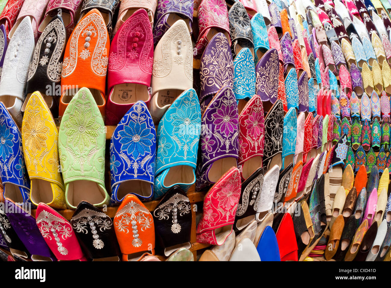 Soft leather Moroccan slippers in the Souk, Medina, Marrakesh, Morocco, North Africa, Africa - Stock Image
