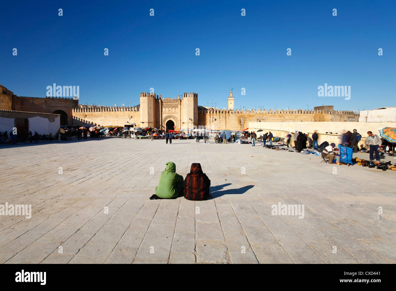 Second hand market outside the Kasba City Gate, Fez, Morocco, North Africa, Africa - Stock Image