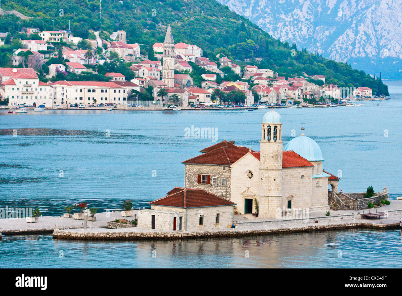 Our Lady of the Rocks and Perast, Montenegro - Stock Image