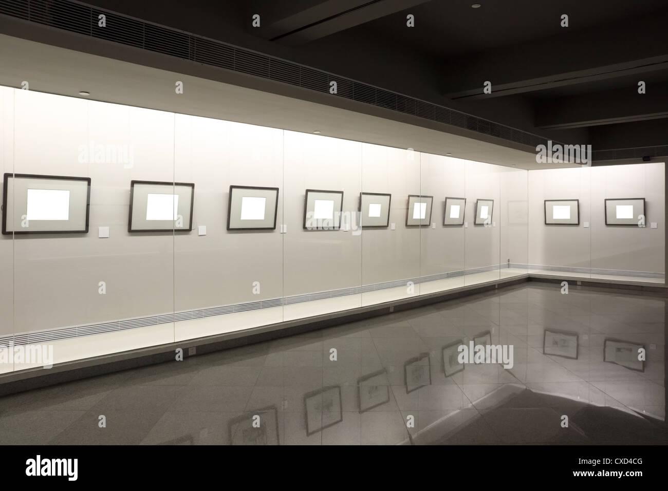 empty frames in showcase - Stock Image