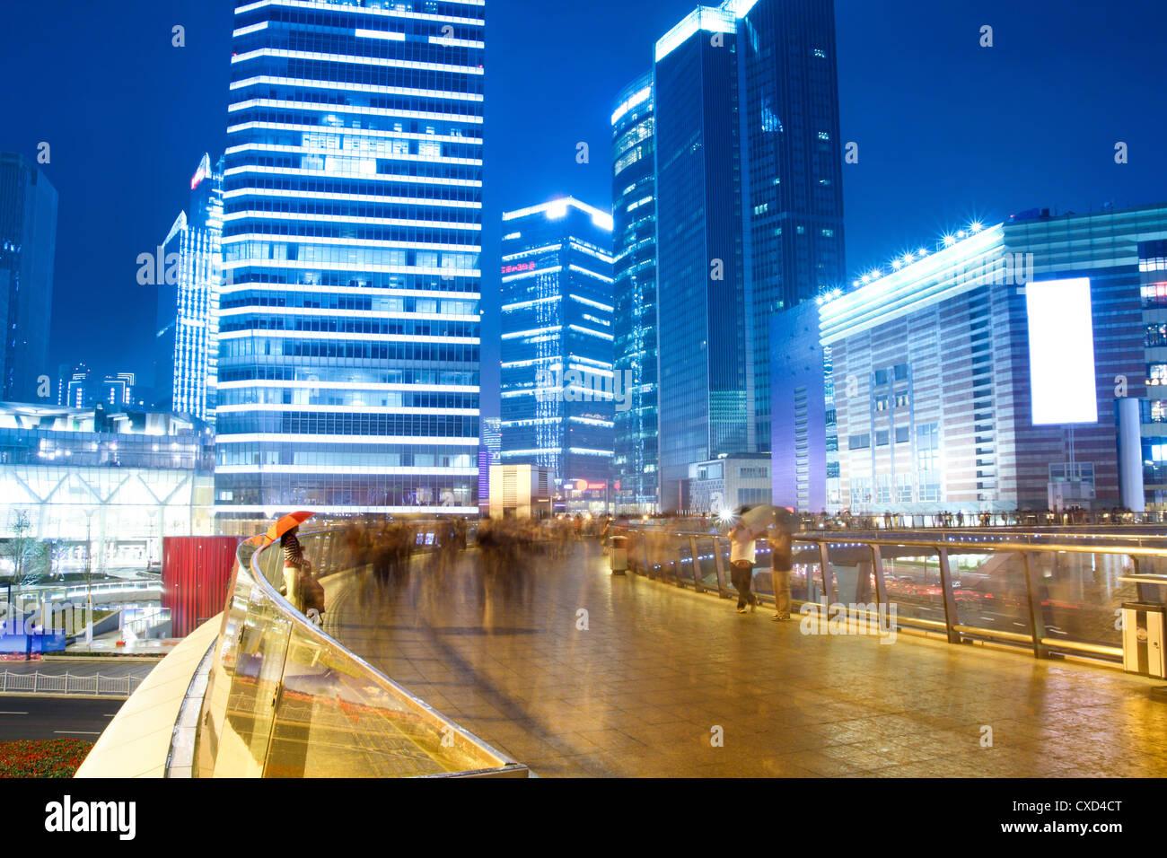 night view of prosperous city - Stock Image