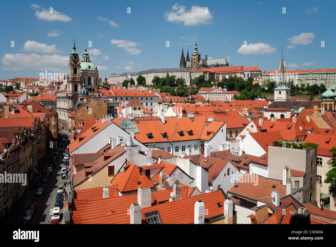 St. Vitus cathedral and St. Nicholas church, Prague, Czech Republic, Europe - Stock Image
