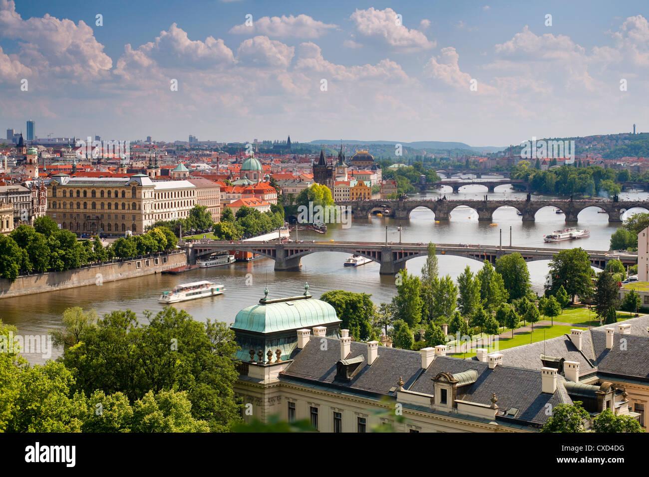 View of the River Vltava and bridges, Prague, Czech Republic, Europe - Stock Image