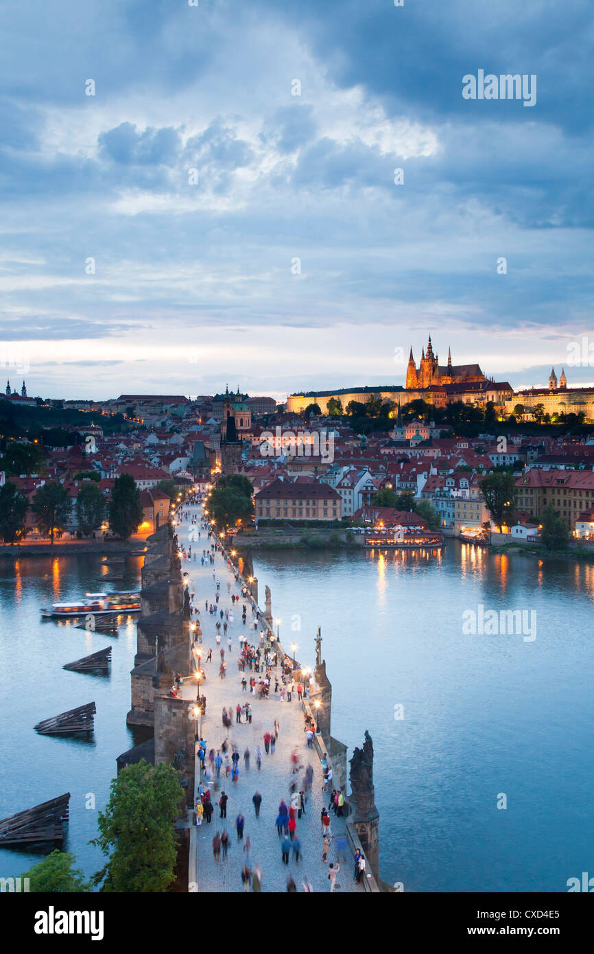 St. Vitus Cathedral, Charles Bridge, River Vltava and the Castle District in the evening, Prague, Czech Republic - Stock Image