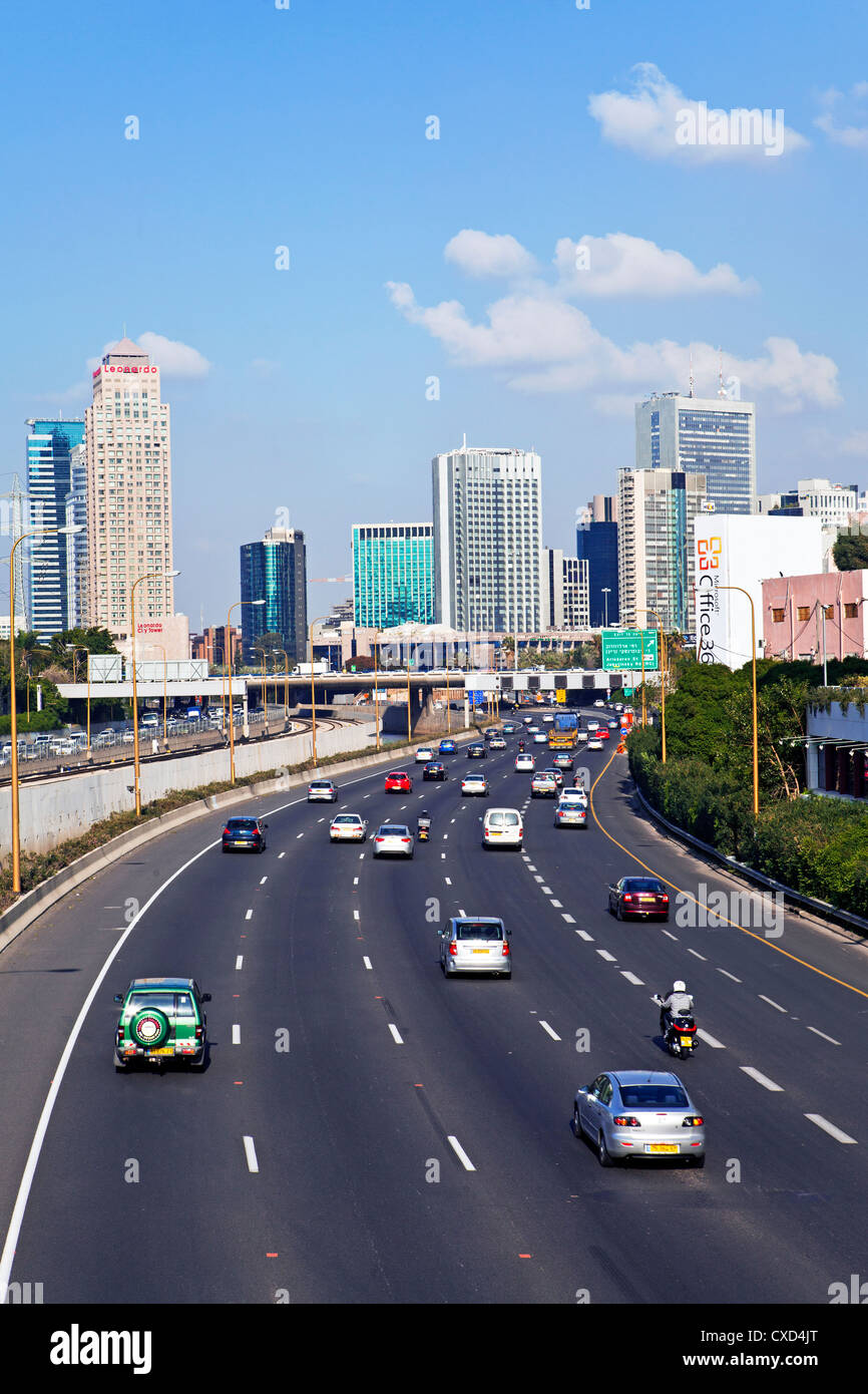 Modern road system leading to the Commercial Centre, Tel Aviv, Israel, Middle East - Stock Image