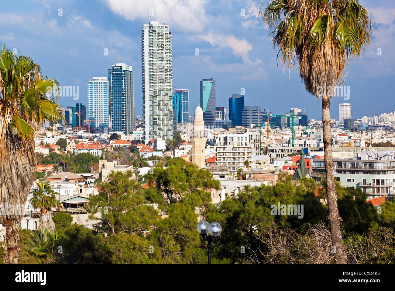 Downtown buildings viewed from HaPisgah Gardens (The Summit Garden), Jaffa, Tel Aviv, Israel, Middle East - Stock Image