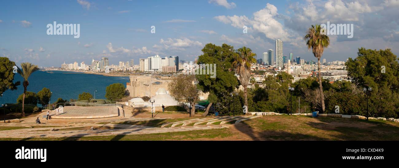 Downtown buildings viewed from HaPisgah Gardens Park, Jaffa, Tel Aviv, Israel, Middle East - Stock Image