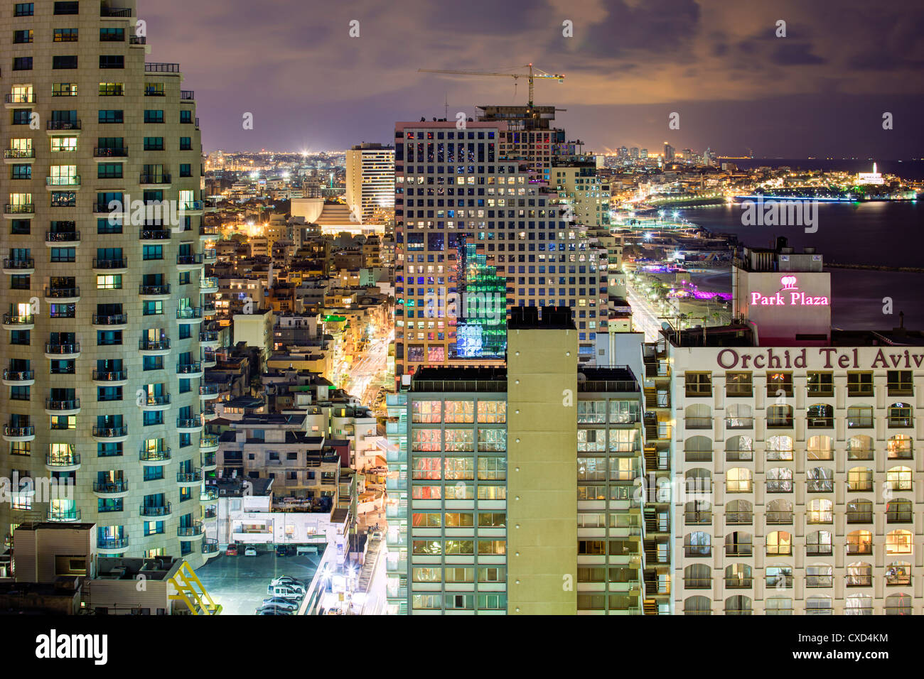 Elevated dusk view of the city beachfront, Tel Aviv, Israel, Middle East - Stock Image