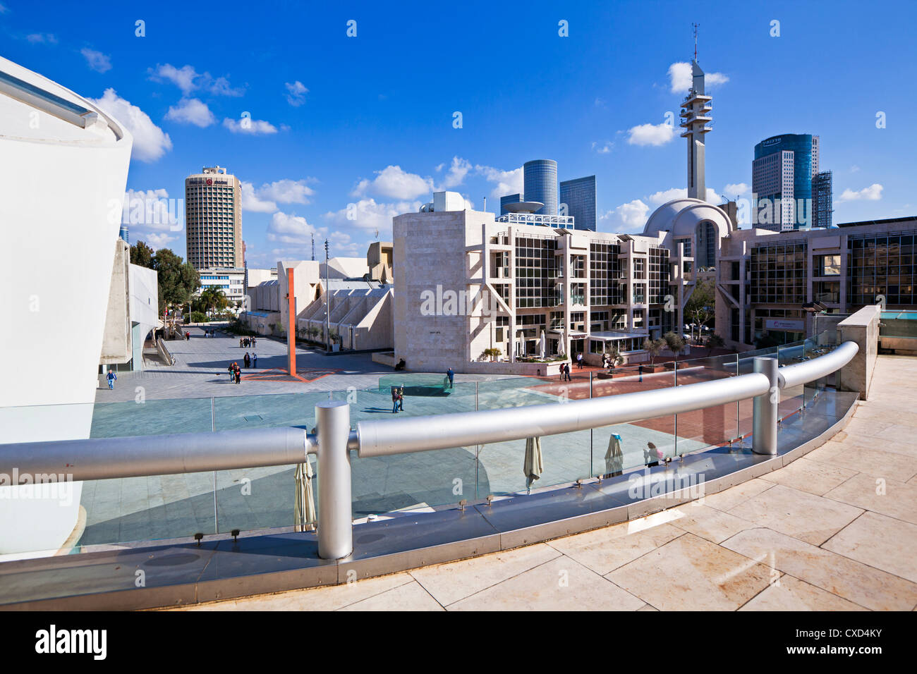 View towards the Central Library and buildings of Azrieli Center, Tel Aviv, Israel, Middle East - Stock Image