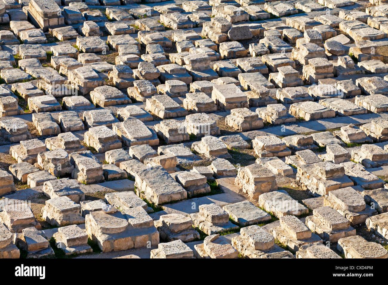 Jewish cemetery, Mount of Olives, Jerusalem, Israel, Middle East Stock Photo