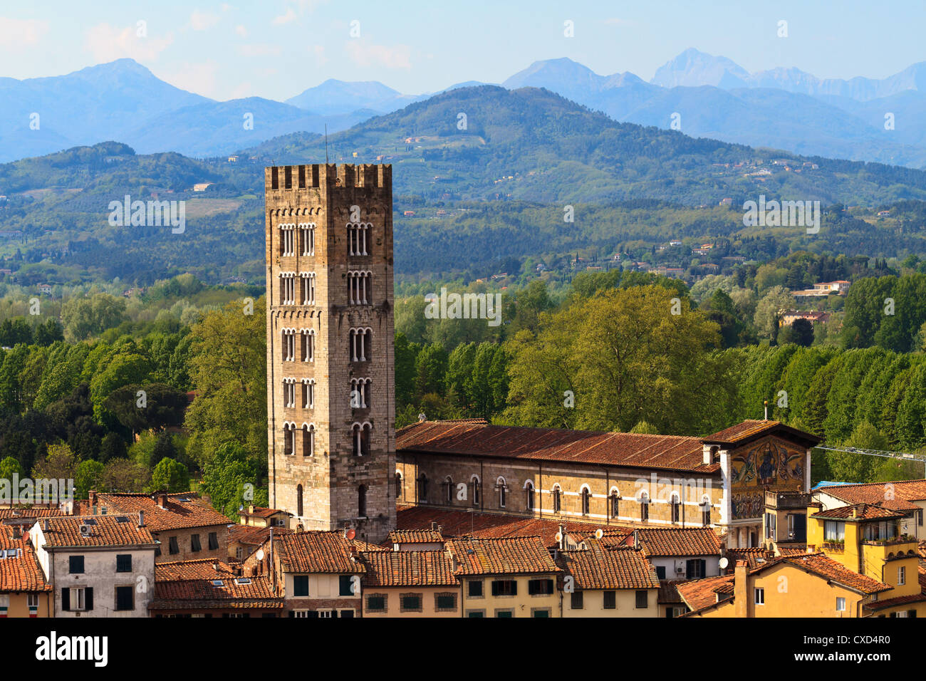 Lucca, Tuscany - View over Old Town (Italy) - Stock Image