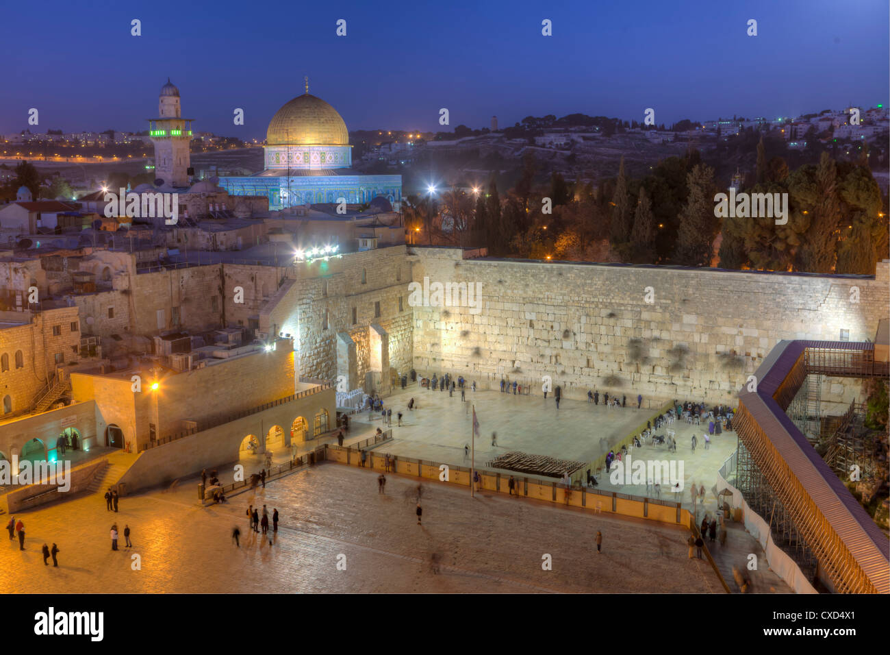 Jewish Quarter of the Western Wall Plaza, Wailing Wall, Old City, UNESCO World Heritge Site, Jerusalem, Israel - Stock Image