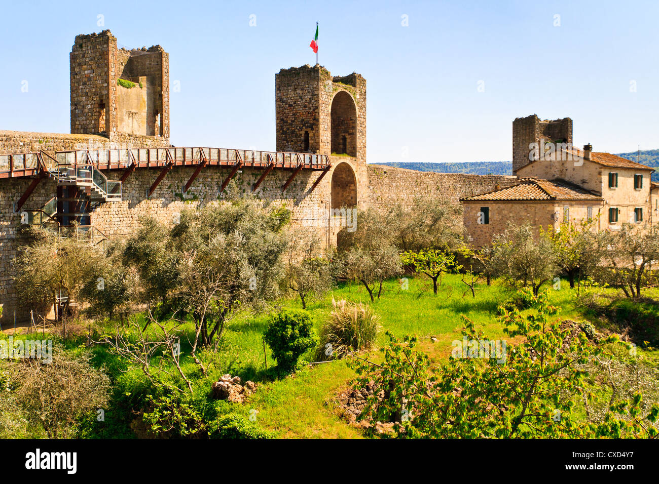 Monteriggioni view on fortifications from within the city Stock Photo