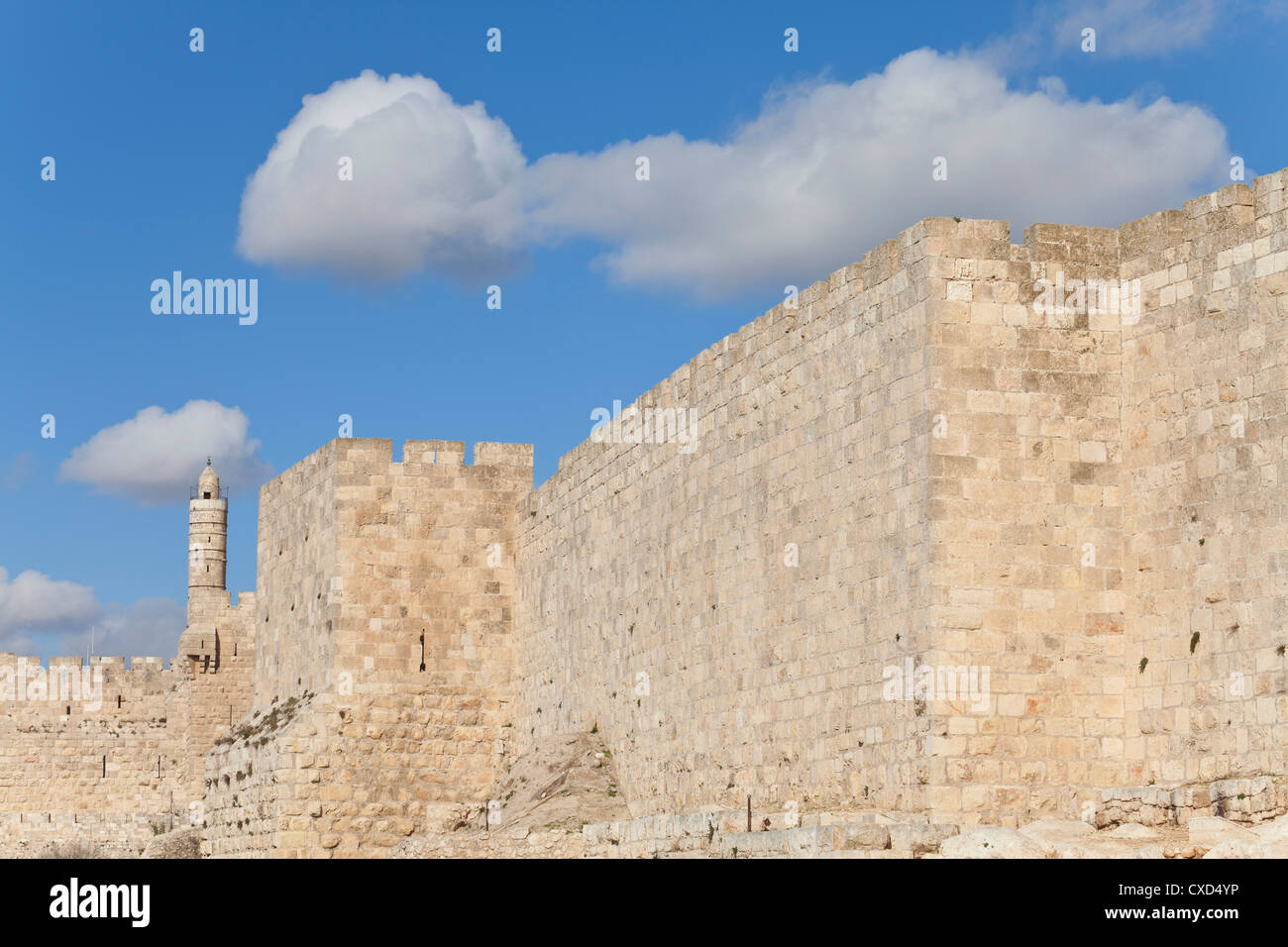 Citadel (Tower of David), Old City Walls, UNESCO World Heritage Site, Jerusalem, Israel, Middle East - Stock Image