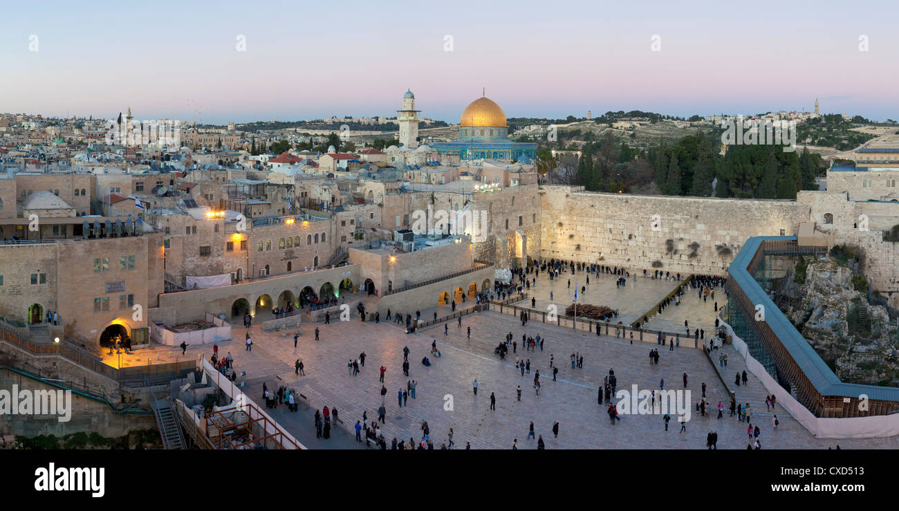 Jewish Quarter of the Western Wall Plaza, with people praying at the Wailing Wall, Old City, Jerusalem, Israel - Stock Image