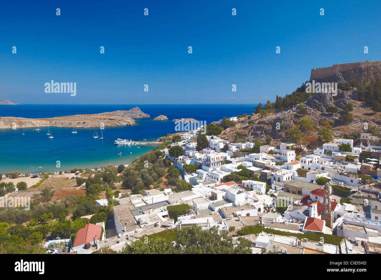 Lindos and the acropolis, Rhodes, Dodecanese, Greek Islands, Greece, Europe - Stock Image