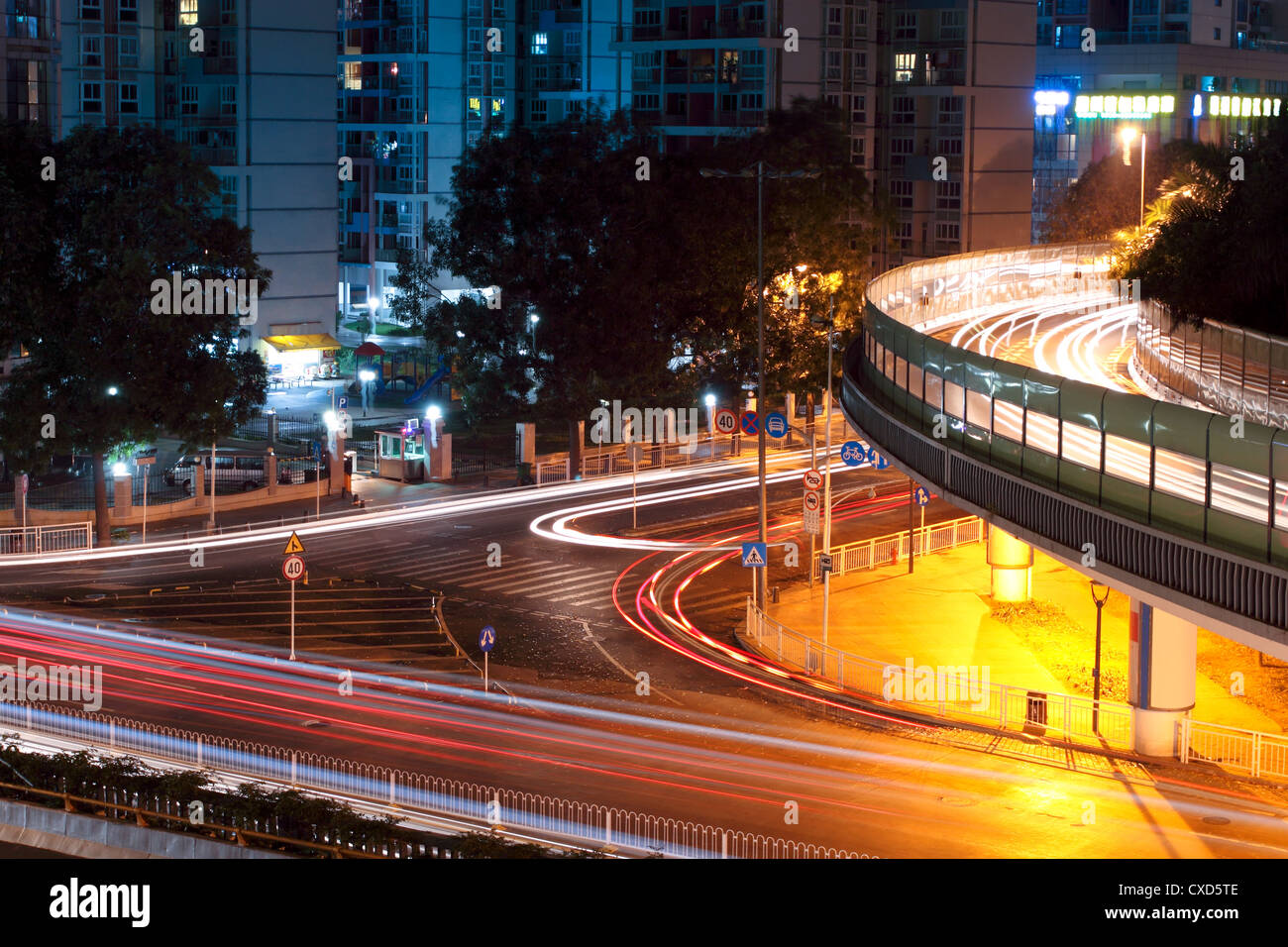light trails on the overpasses at night - Stock Image
