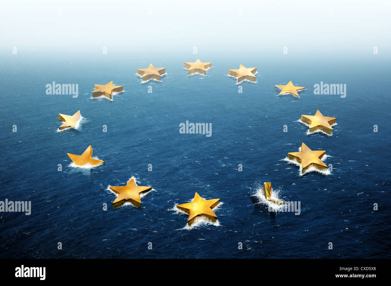 Conceptual image representing the stars of the European Union flag drifting and sinking in the ocean - Stock Image