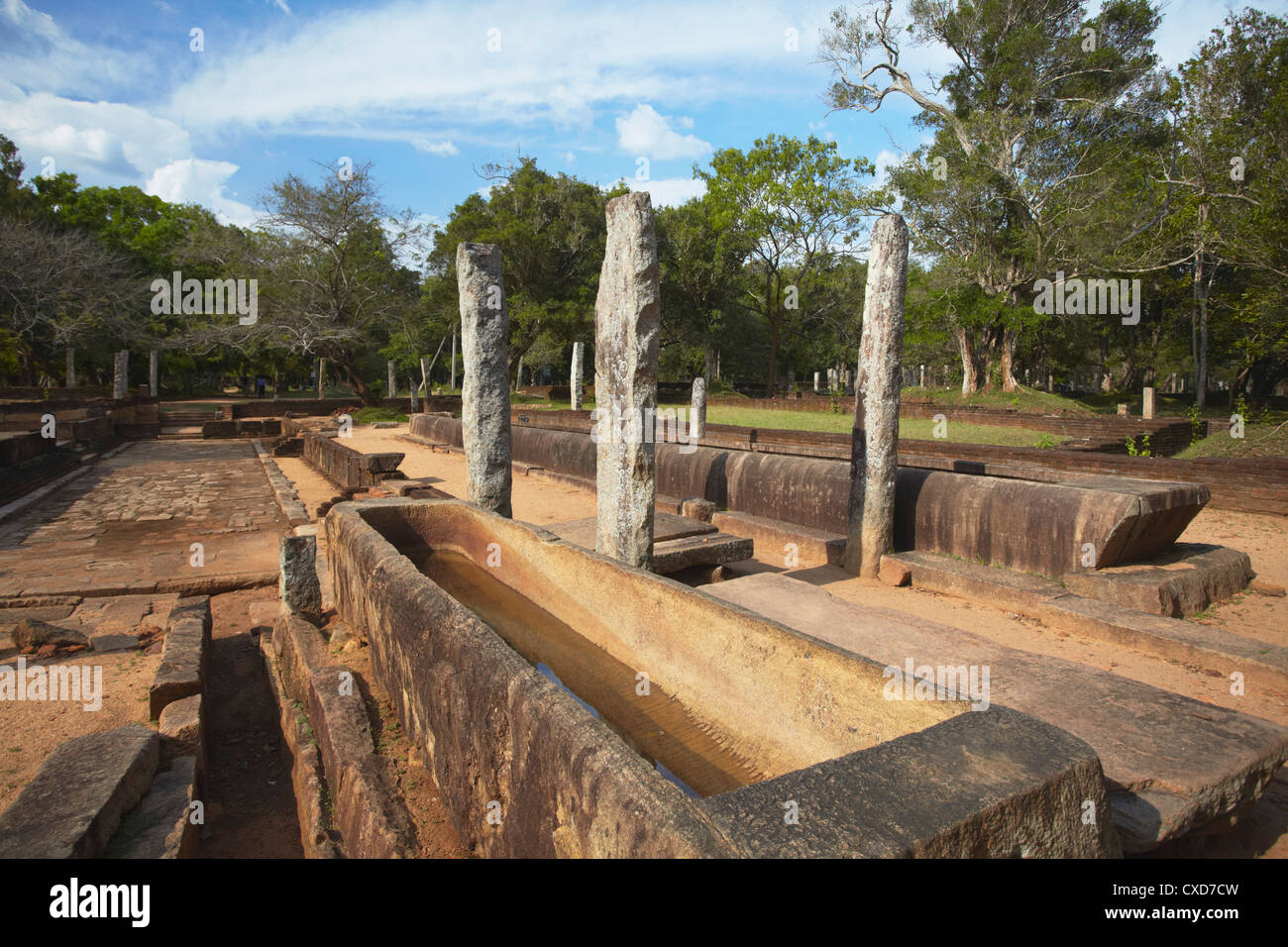 Rice trough inside remains of monastic refectory, Northern Ruins, Anuradhapura, North Central Province, Sri Lanka - Stock Image