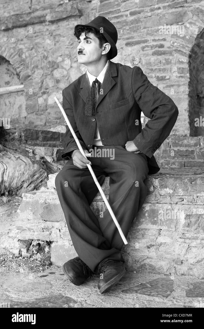 Street mime artist as Charlie Chaplin - Stock Image