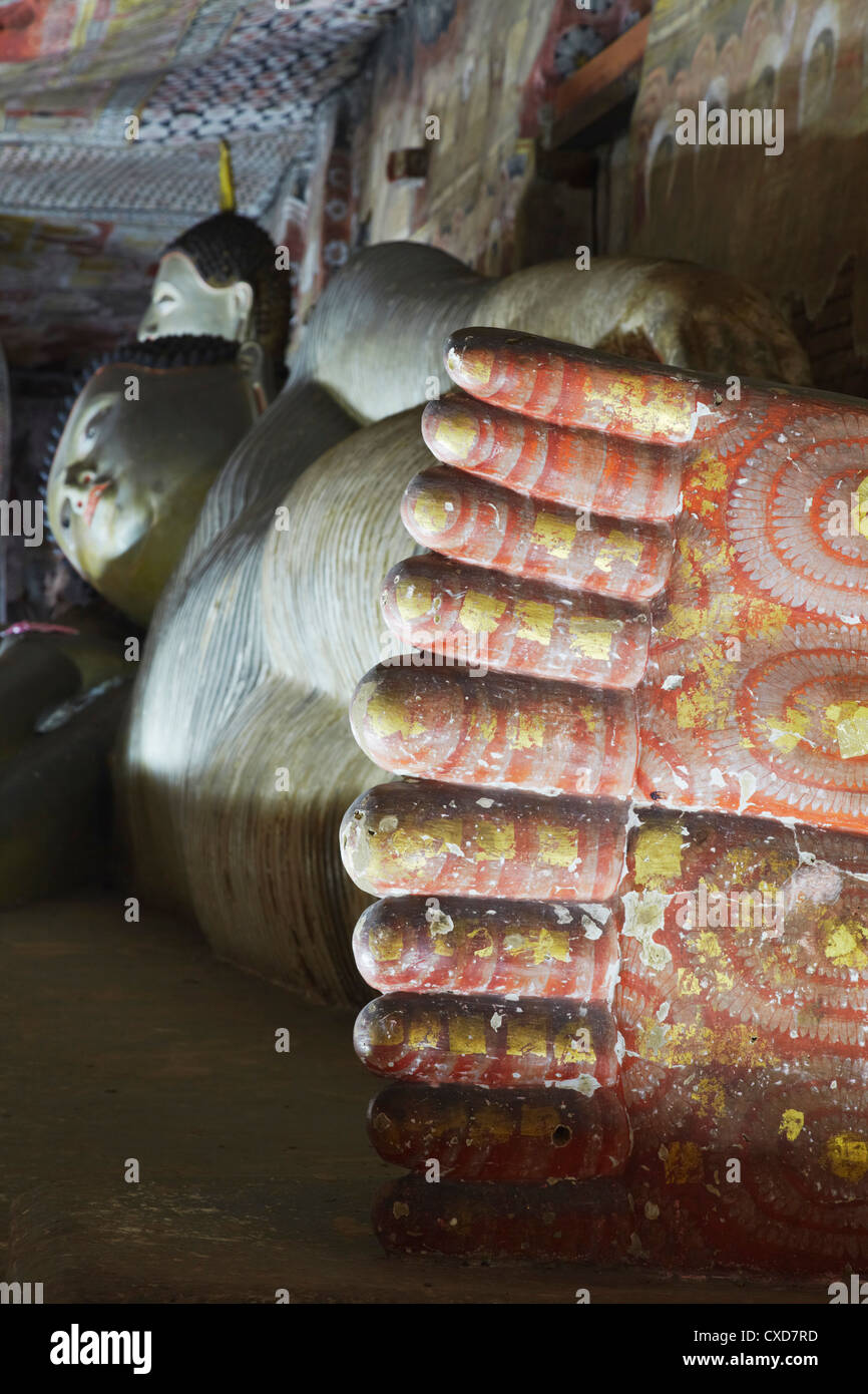 Reclining Buddha statue in Cave 2 of the Cave Temples, UNESCO World Heritage Site, Dambulla, North Central Province, - Stock Image