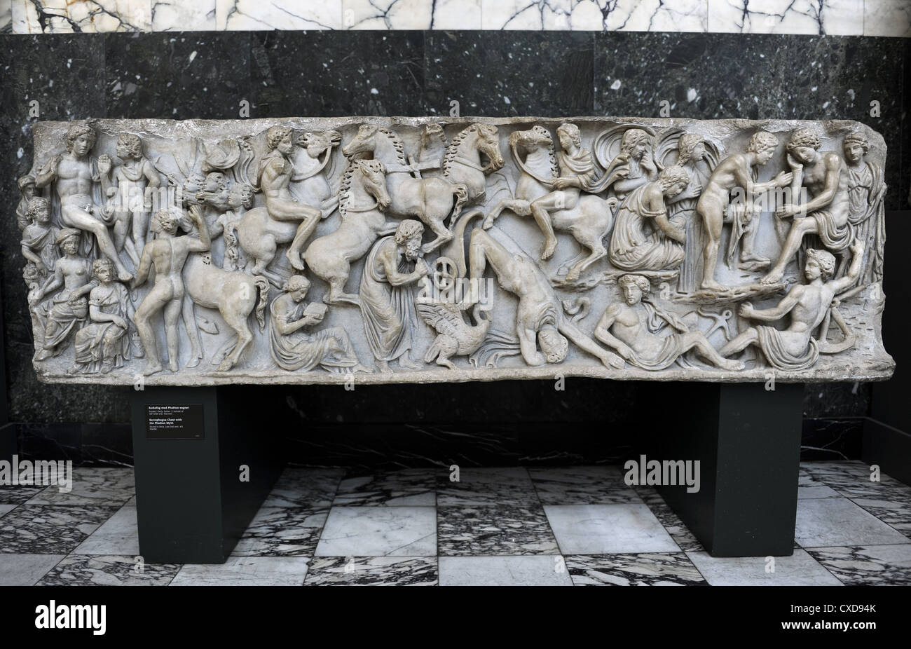 Roman Art. Sarcophagus Chest with the Phaeton Myth. The fall of Phaeton. Found in Ostia. Carlsberg Glyptotek. Copenhagen. - Stock Image