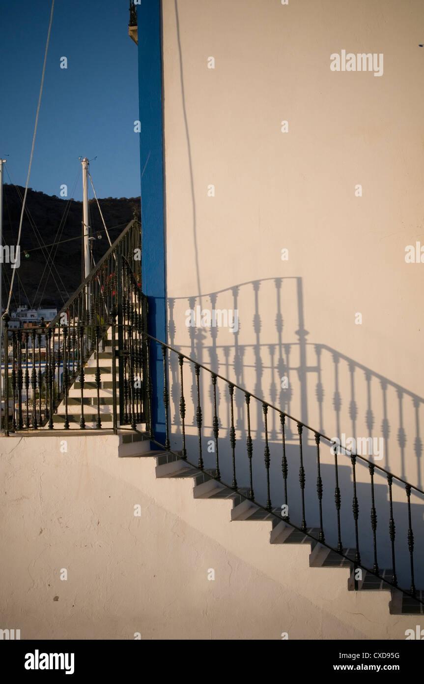 handrail rail hand balustrade balustrades stair stairs case cases staircase staircases step steps treads - Stock Image