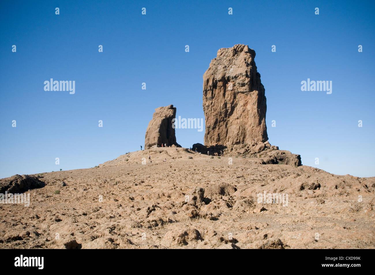 Pico de las Nieves gran canary island canaries islands canaria volcanic highest peak on rock rocks formation formations - Stock Image