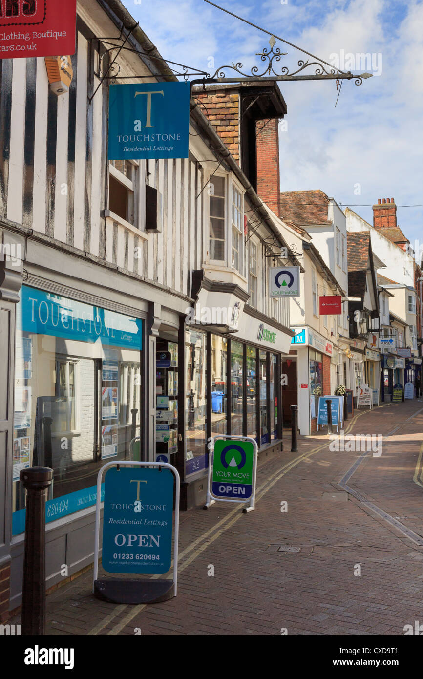 Touchstone lettings agency and Your Move estate agents shops in the town centre of Ashford, Kent, England, UK, Britain - Stock Image