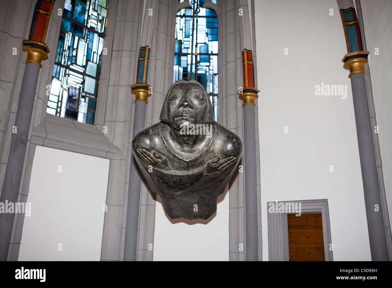 Hovering angel, sculpture with the facial features of Kaethe Kollwitz, by Ernst Barlach, Antoniterkirche church, - Stock Image