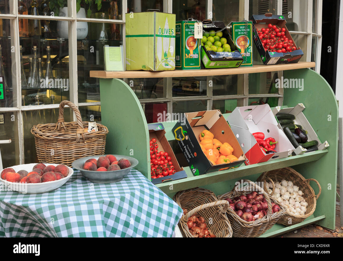 Fresh fruit and vegetables on display outside Gastronomia restaurant and delicatessen in Tunbridge Wells, Kent, - Stock Image