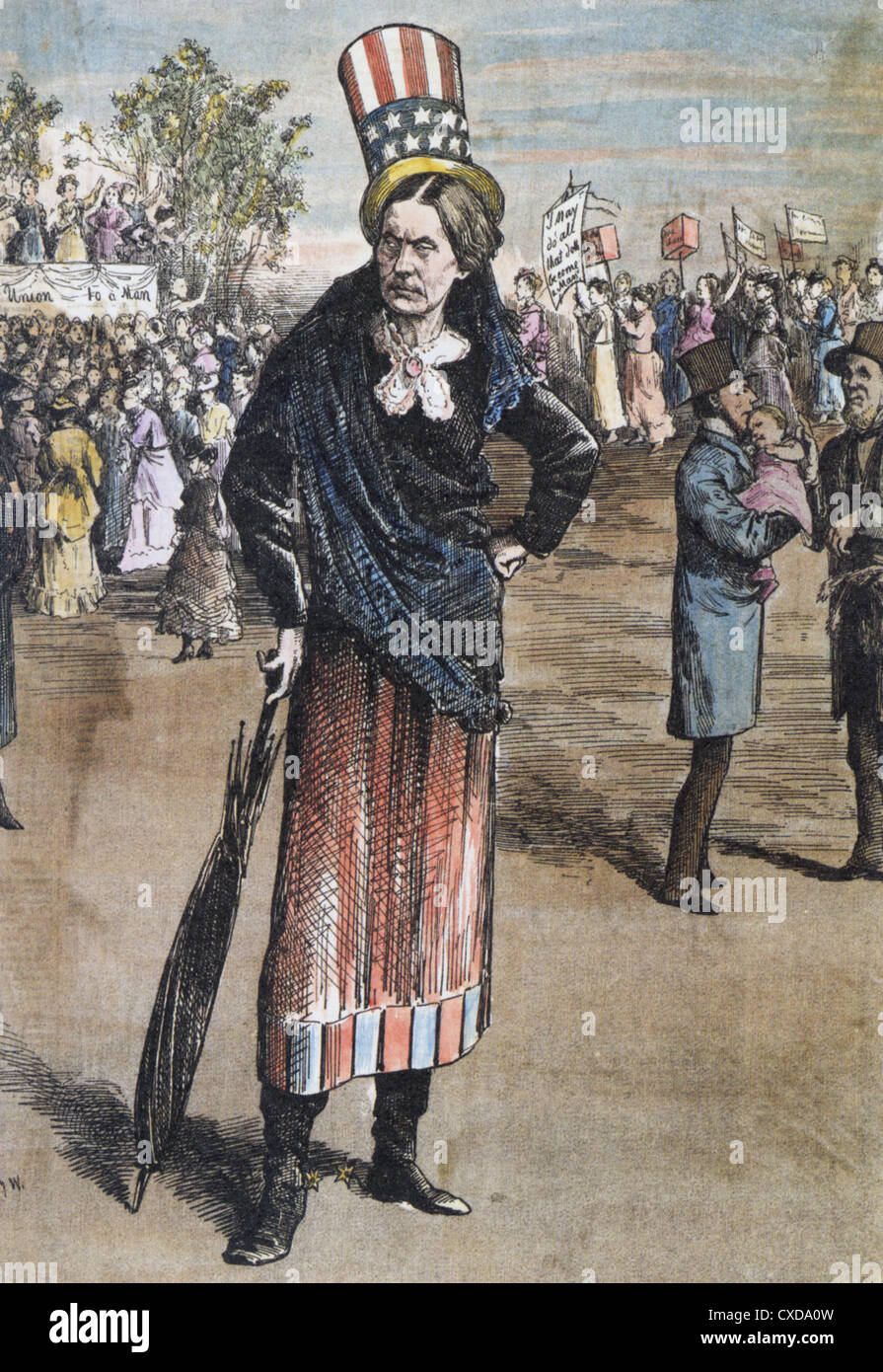 SUSAN B. ANTHONY (1820-1906) US civil rights leader in a cartoon about 1895 - Stock Image