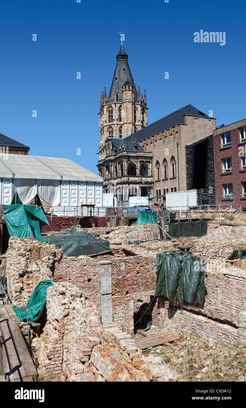 Archaeological Zone, the Jewish Museum, archaeological excavation site, Rathausplatz square, Cologne, Germany, Europe - Stock Image