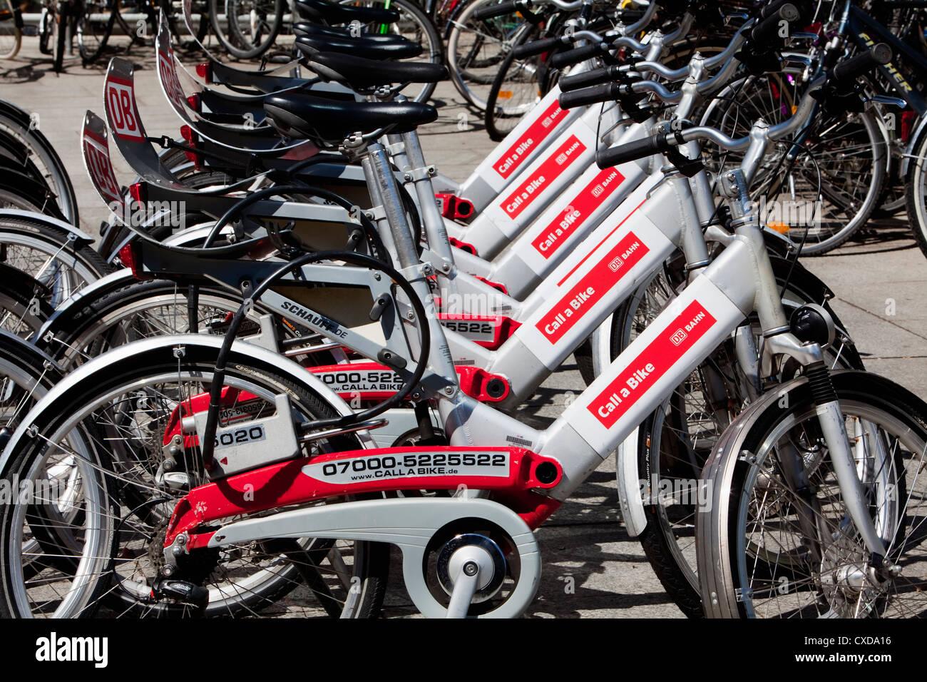 Call a Bike, rental bikes, Deutsche Bahn AG, outside the main station of Cologne, North Rhine-Westphalia, Germany, - Stock Image