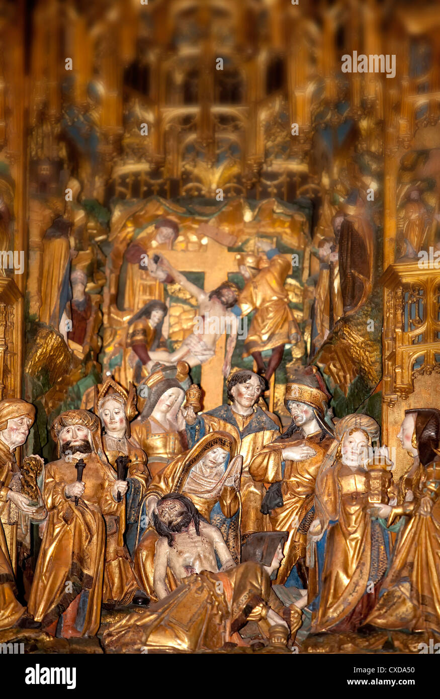 Agilolphus altar, detail of the biblical crucifixion scene, Koelner Dom, Cologne Cathedral, Germany, Europe - Stock Image