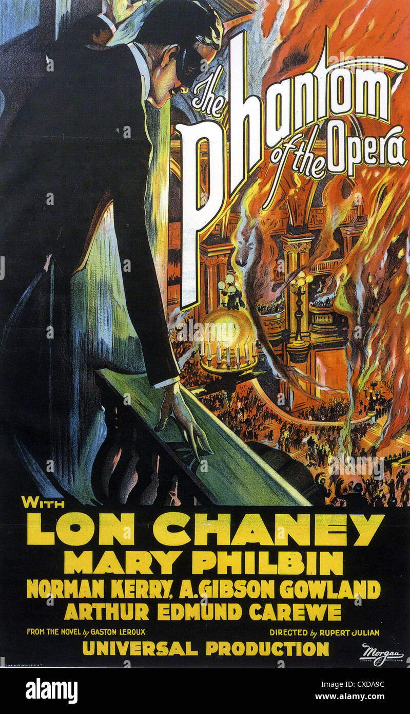 THE PHANTOM OF THE OPERA Poster for 1926 Universal film with Lon Chaney - Stock Image