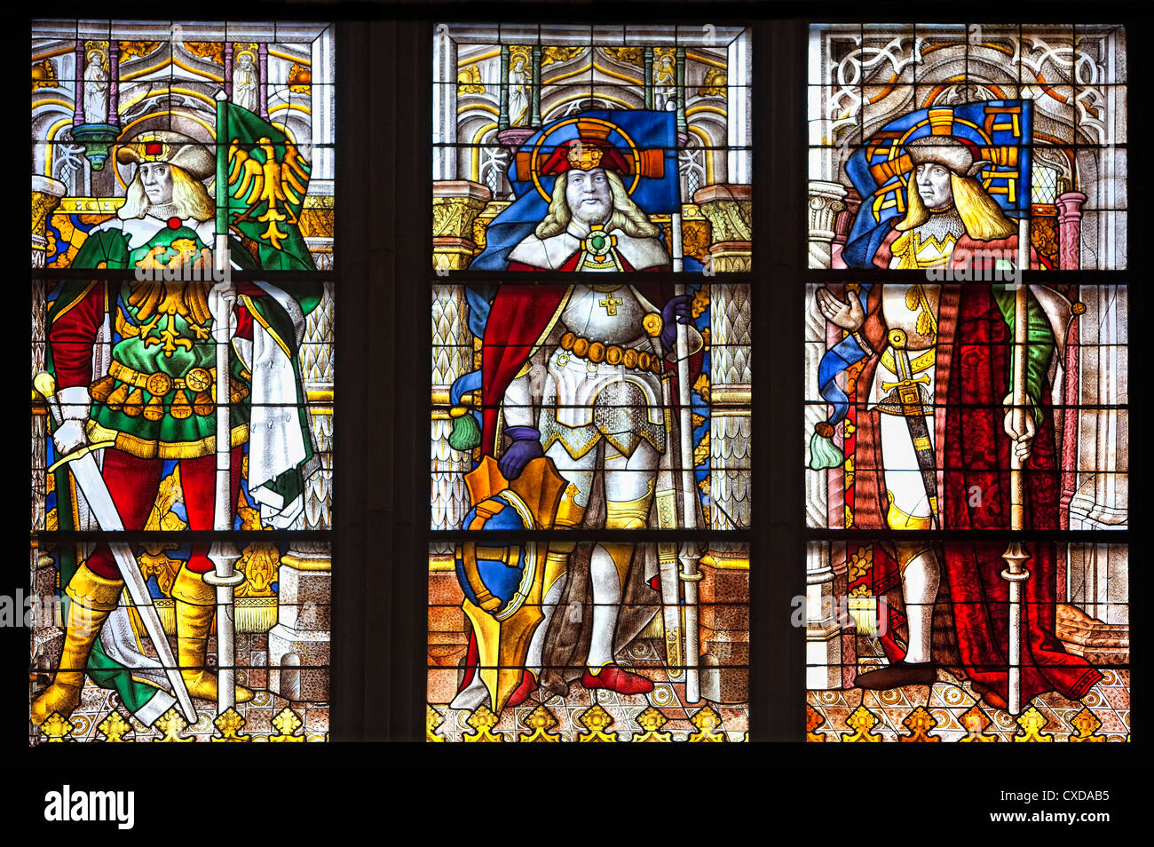 Typological Birth of Christ window, 1507, saints in Cologne Cathedral, from left, Gereon,   Mauritius, George, Germany, Stock Photo