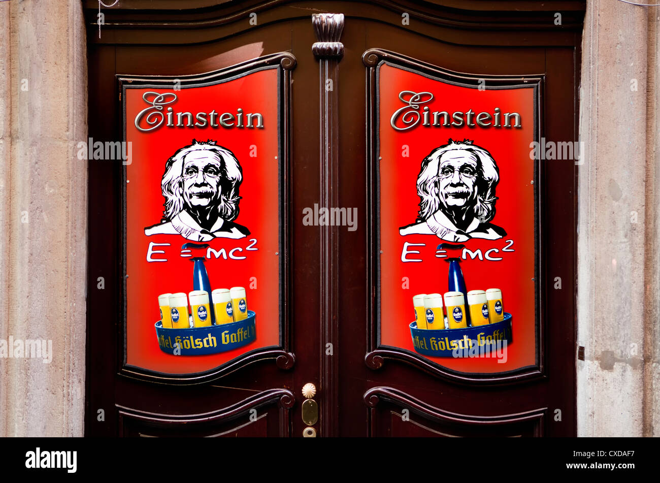 Entrance of a Old city taverne, Gaffel Koelsch beer, with a picture of Albert Einstein, E=mc², Cologne, Germany, - Stock Image