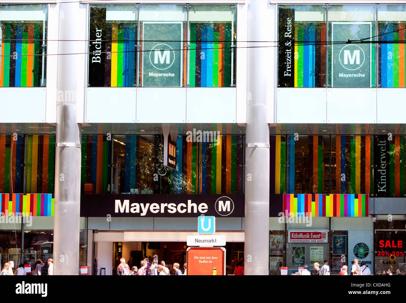 Bookstore in Cologne, Germany, Hausfassade, Mayersche Buchhandlung am Neumarkt, Köln, Nordrhein-Westfalen, - Stock Image