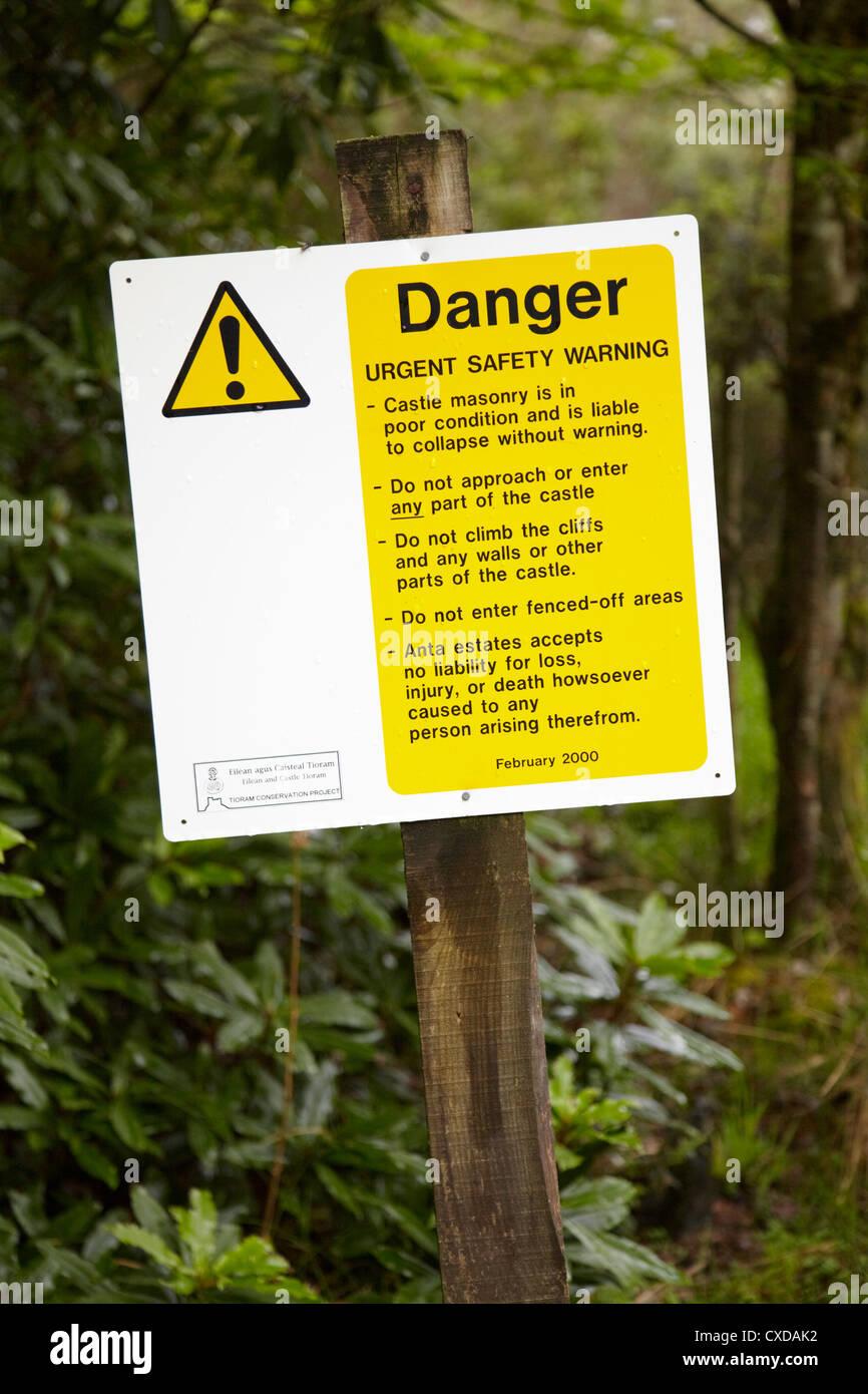 Warning/danger/ safety sign. Castle Tioram, Highland, Scotland - Stock Image