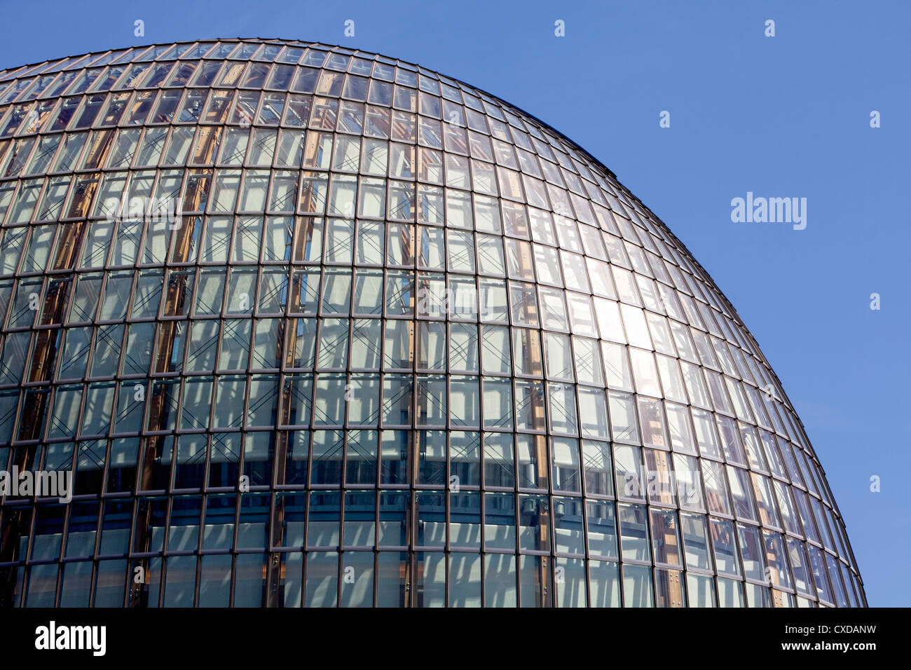 Weltstadthaus with a glass facade by the architect Renzo Piano, Schildergasse street, Cologne, North Rhine-Westphalia, - Stock Image
