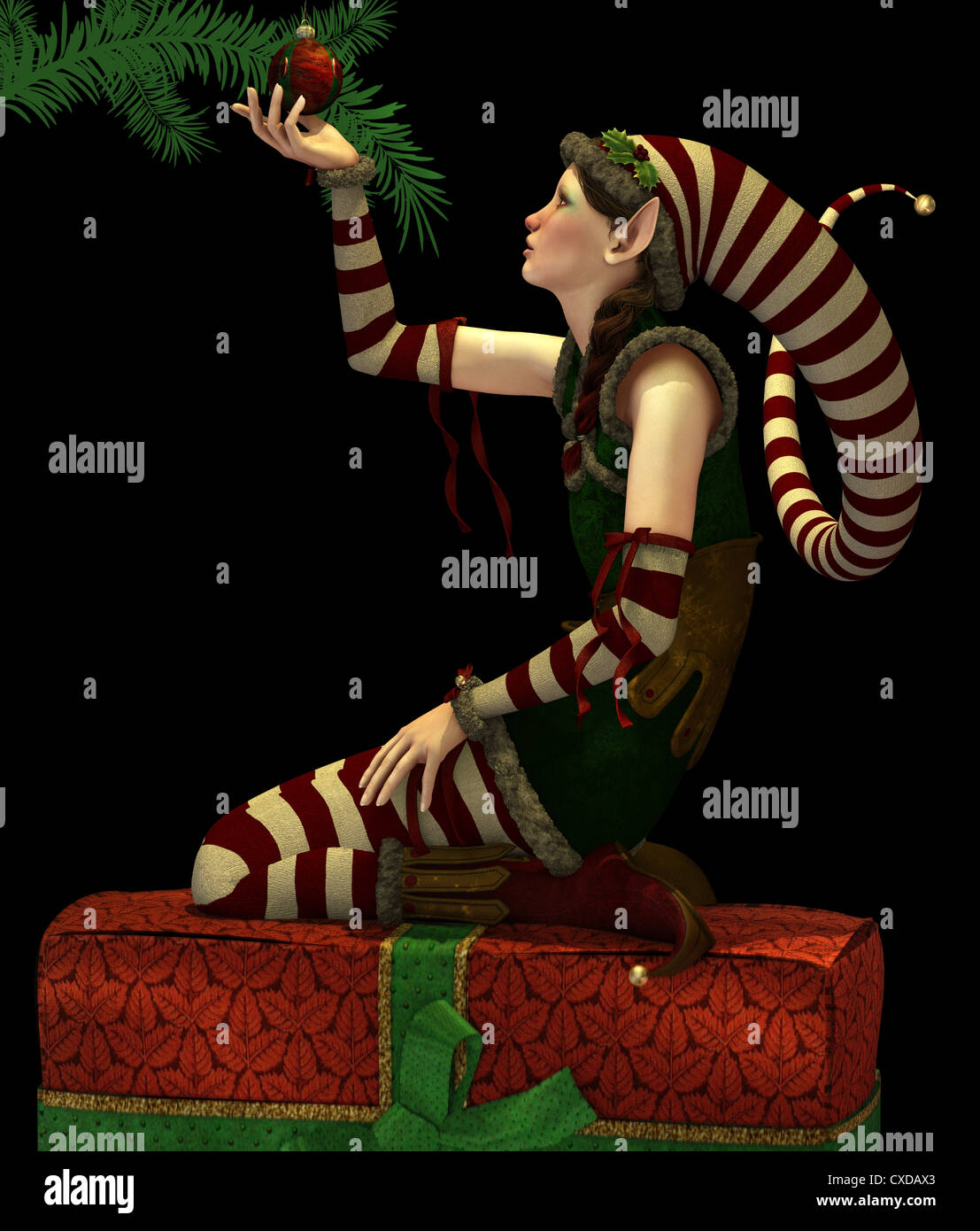A cute Christmas Elf with pointed cap - Stock Image