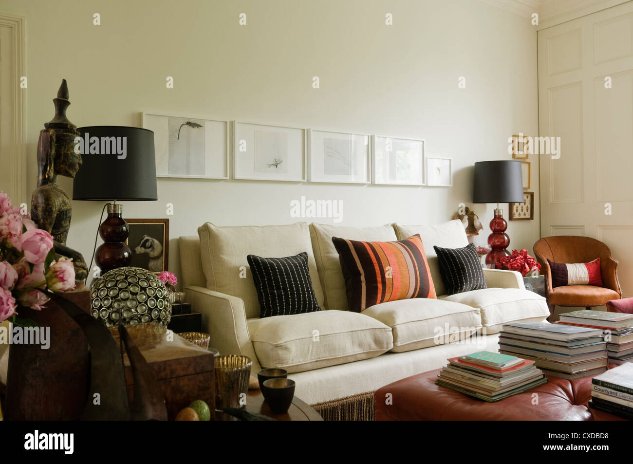 Living Room With Soft Furnishings In Designer Fabrics Stock Photo