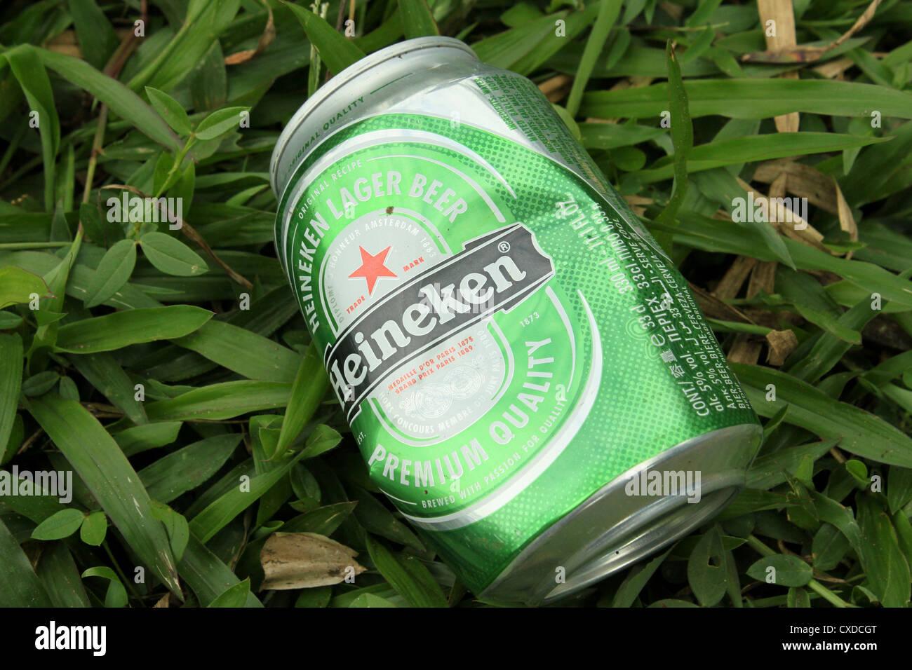 Heineken Lager Beer can grass - Stock Image