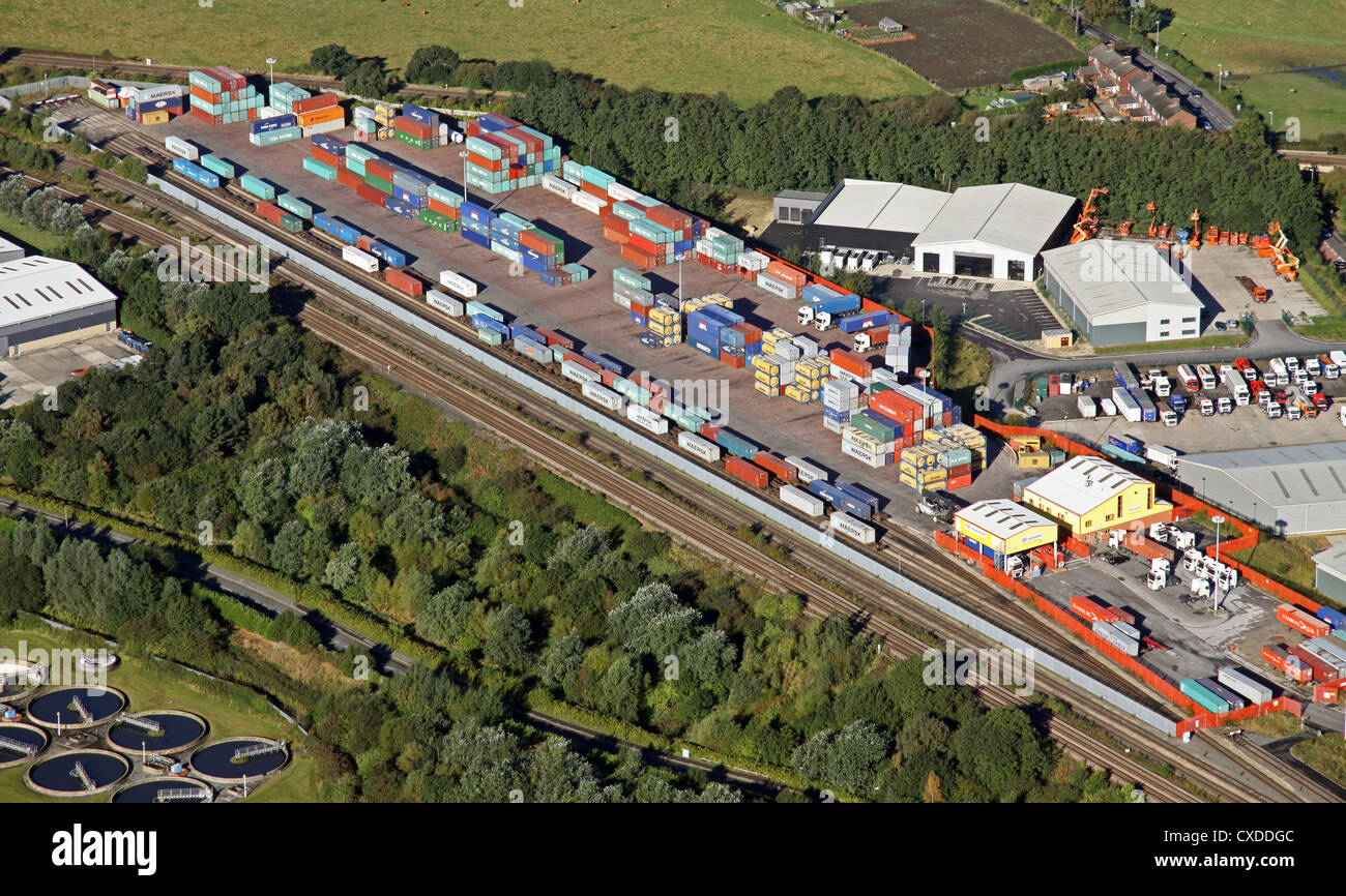 aerial view of containers at a railport in Normanton West Yorkshire - Stock Image
