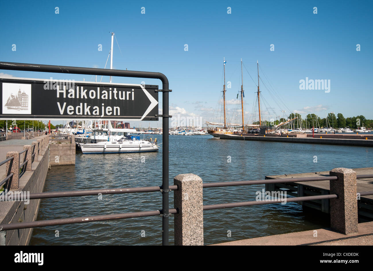 Halkolaituri Firewood Quay Helsinki. The quay is named after the yawls that used to carry firewood from the Uusimaa - Stock Image