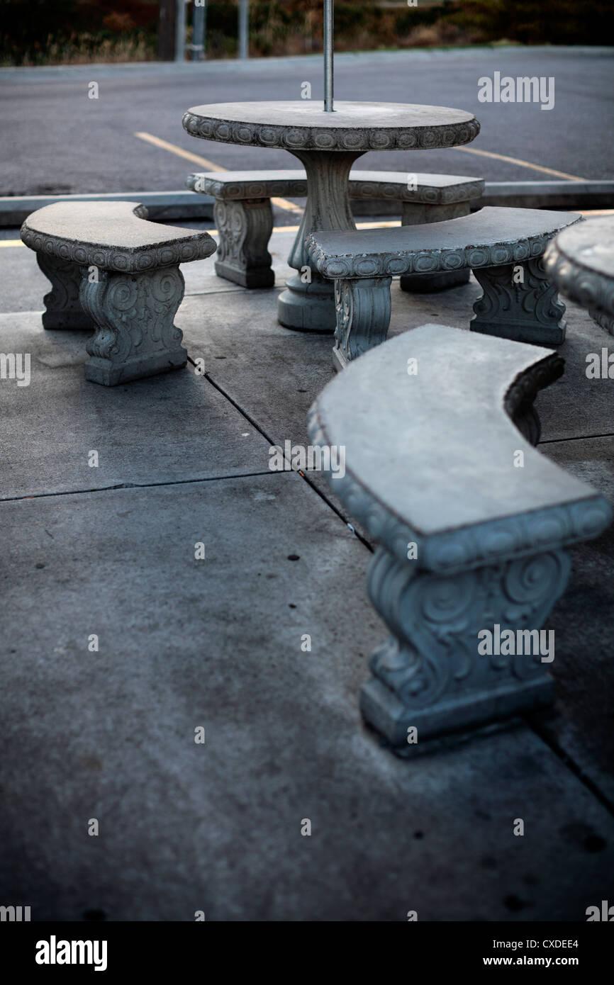 Round Concrete Patio Tables Stock Photo Alamy